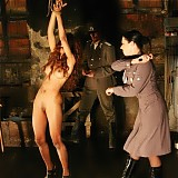 So the slut was fixed by her wrists to be stretched tightly and naked standing in the cold room.